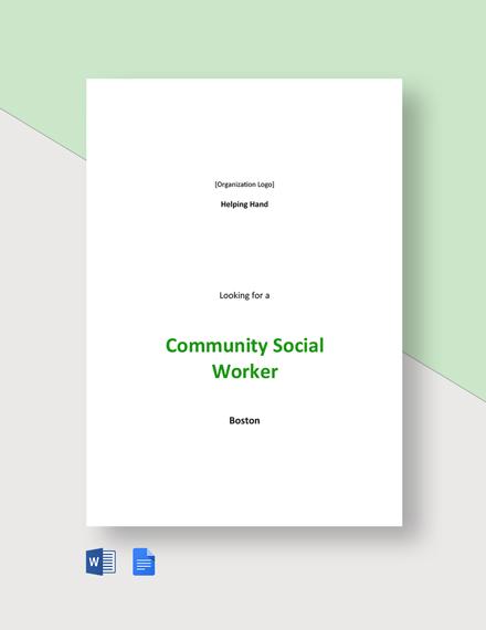 Community Social Worker Job Description Template