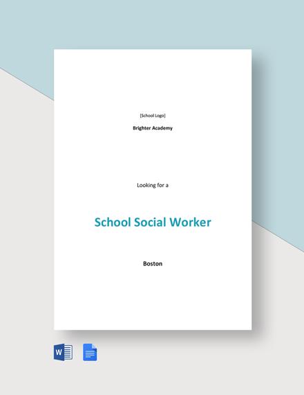 School Social Worker Job Ad and Description Template