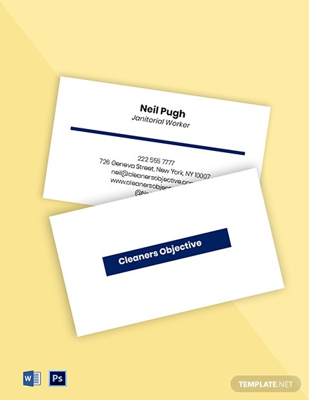 Janitorial & Office Cleaning Business Card Template