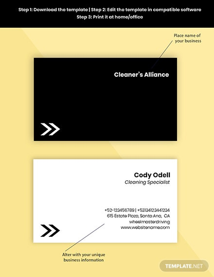 professional cleaning service business card printable
