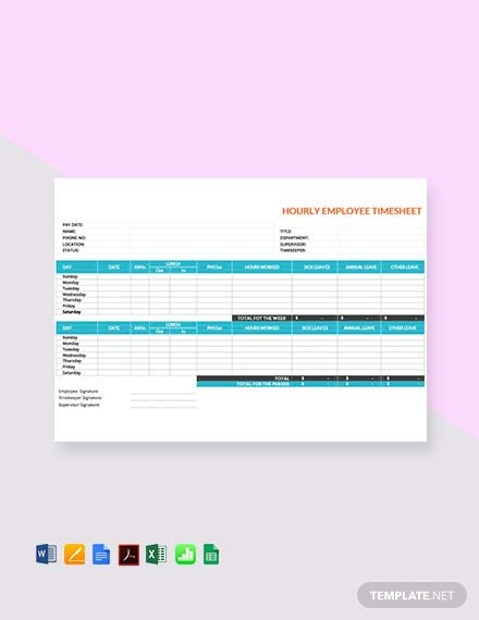 Free Hourly Timesheet Template