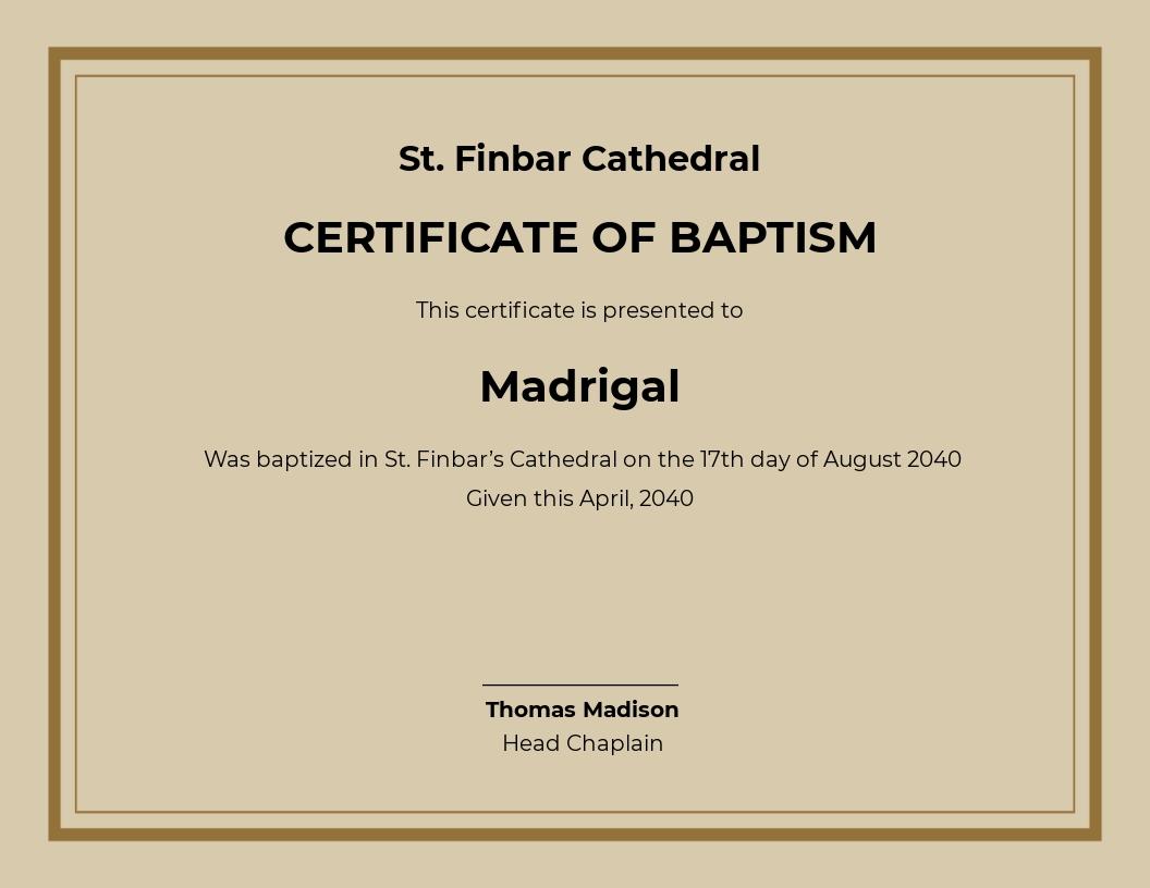 Free Catholic Church Baptism Certificate Template