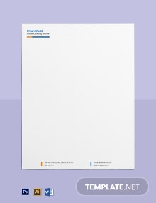 House Cleaning Service Company Letterhead Template