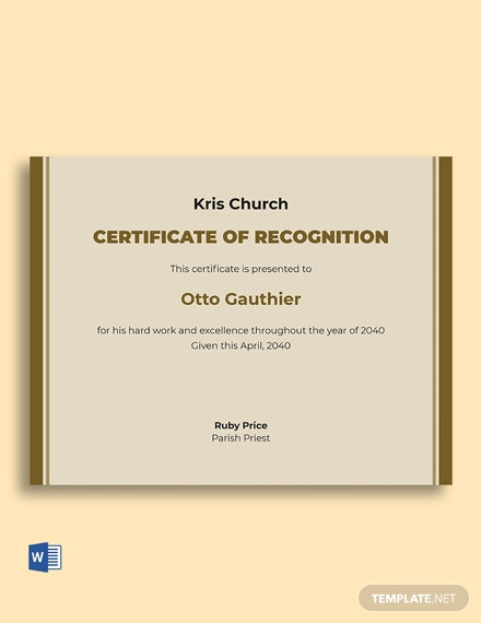 Recognition Church Certificate Template