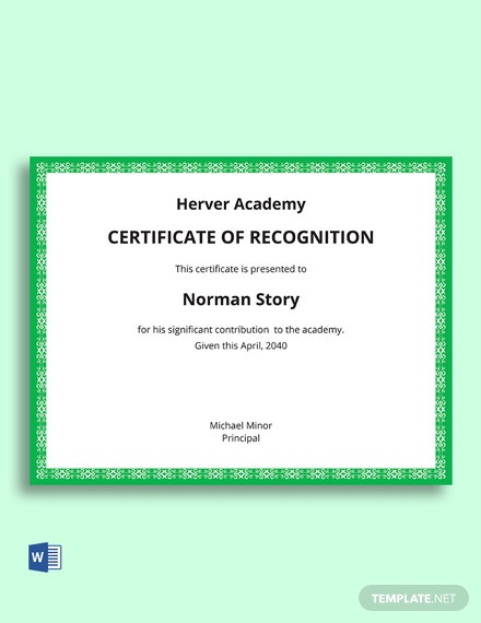 Free Certificate Of Recognition For Kindergarten Template