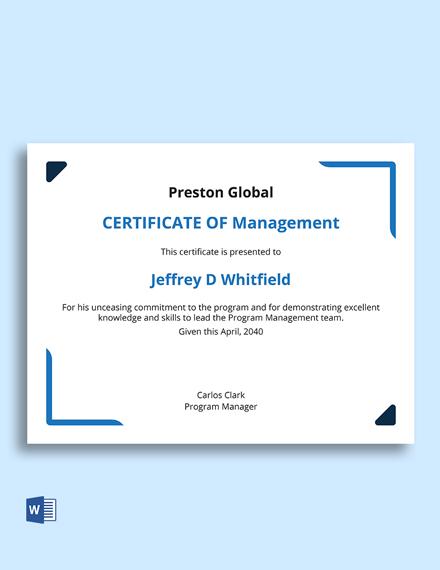 Free Program Management Certificate Template