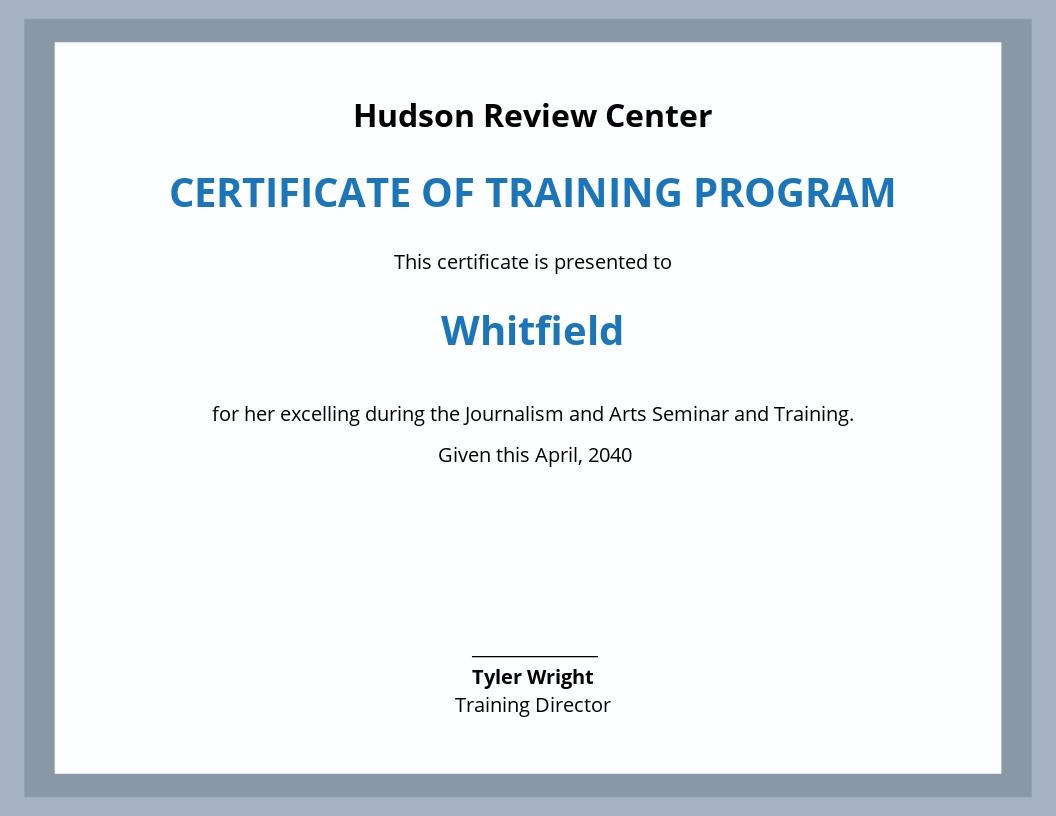 Free Training Program Achievement Certificate Template.jpe
