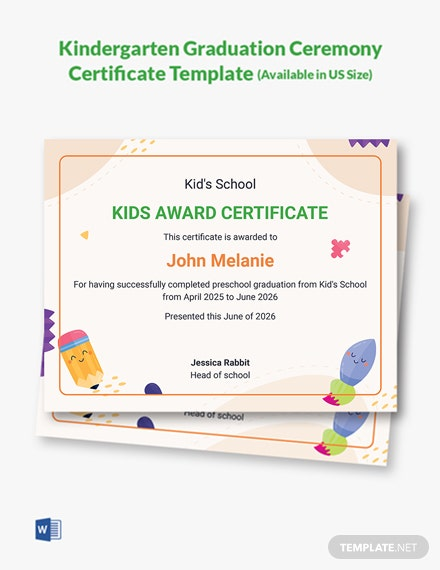 Kindergarten Graduation Ceremony Certificate Template