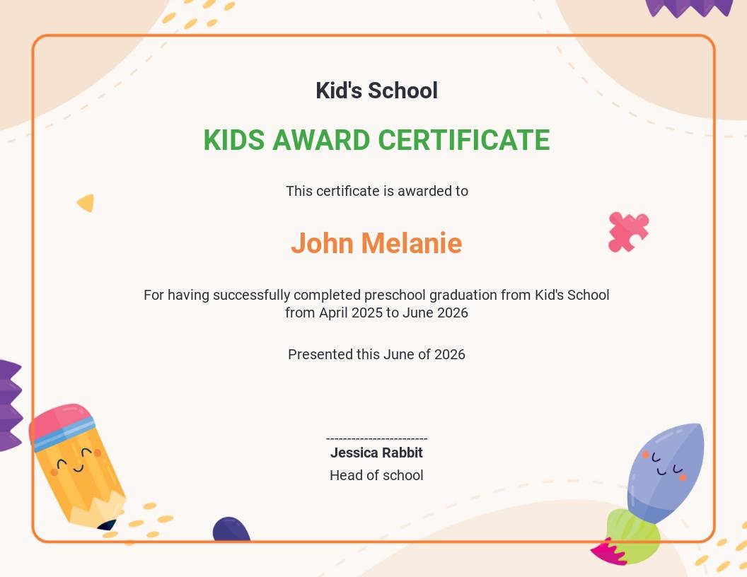 Kindergarten Graduation Ceremony Certificate Template