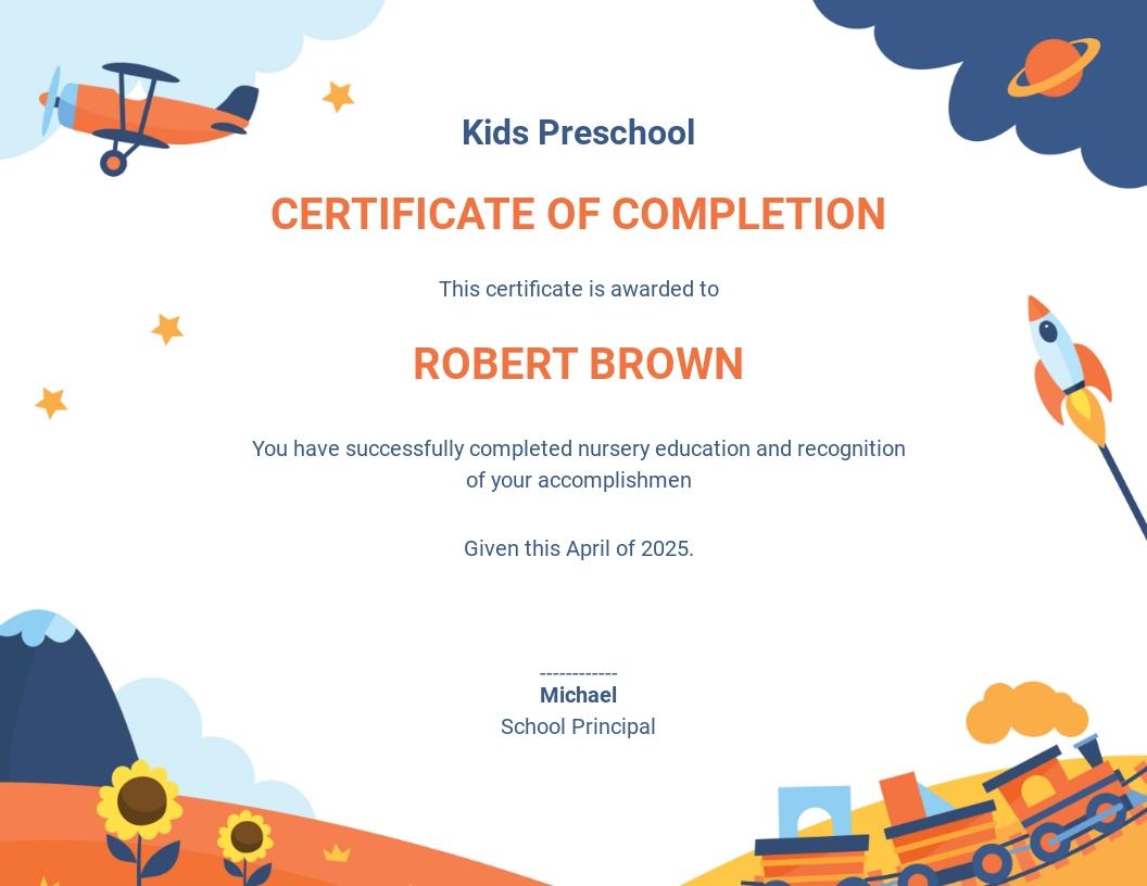 Nursery Graduation Certificate Template