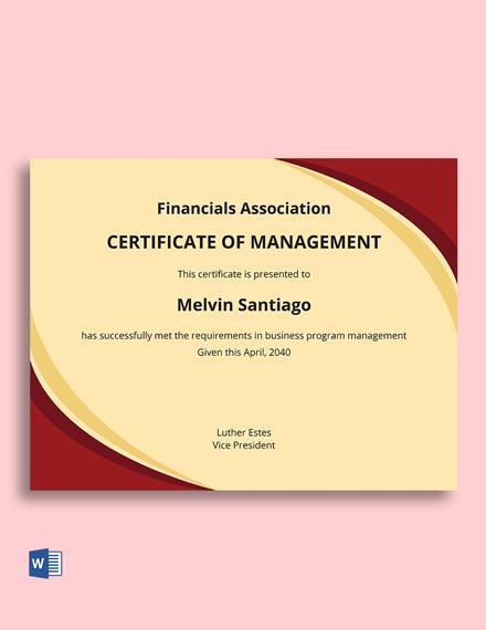 Business Program Management Certificate Template