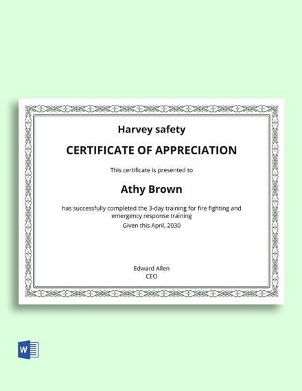 Safety Appreciation Certificate Template