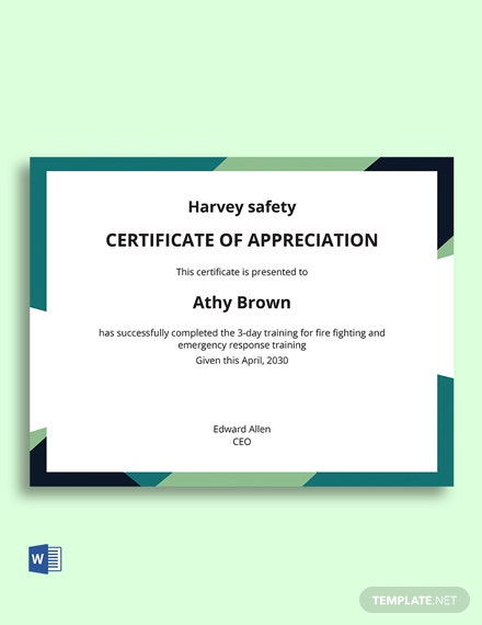 Employee Safety Certificate Template