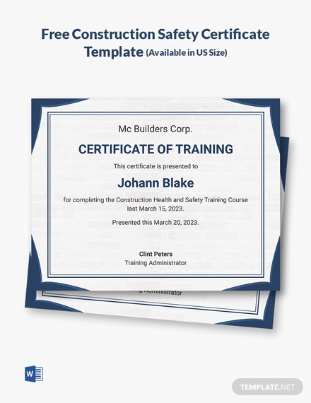 Free Construction Safety Certificate Template