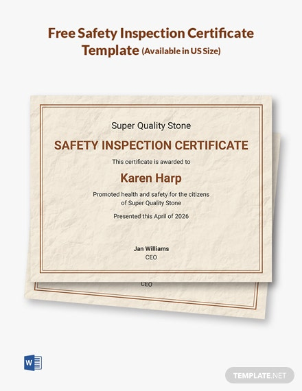 Free Safety Inspection Certificate Template