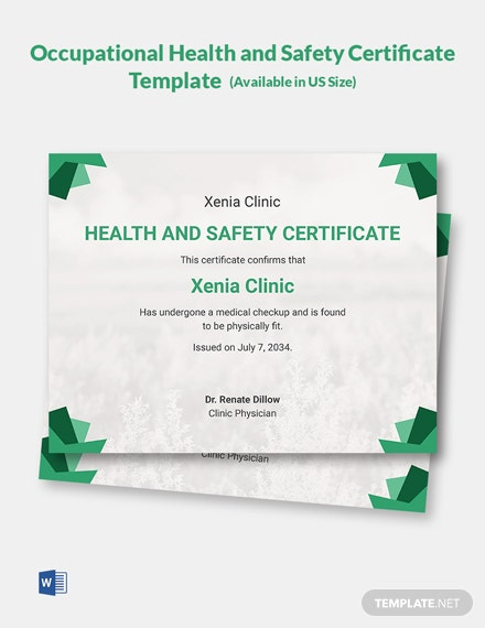 Occupational Health and Safety Certificate Template