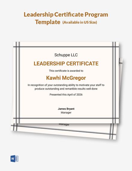 Leadership Certificate Program Template