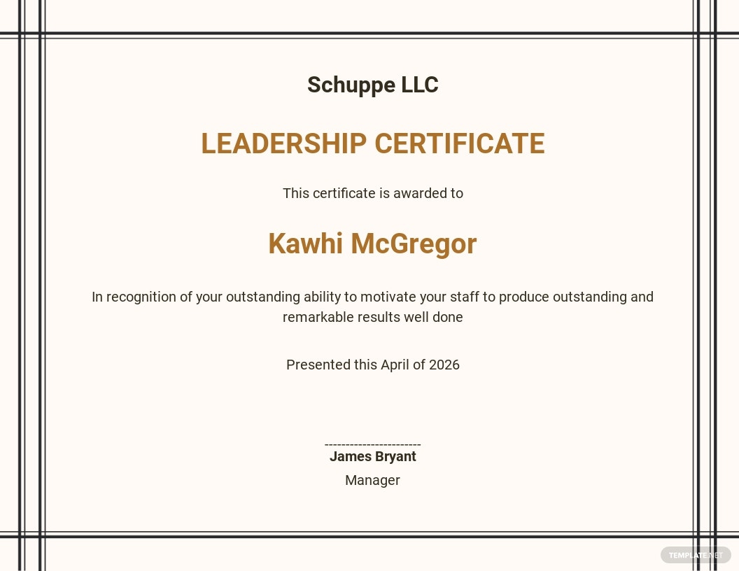 Leadership Certificate Program Template