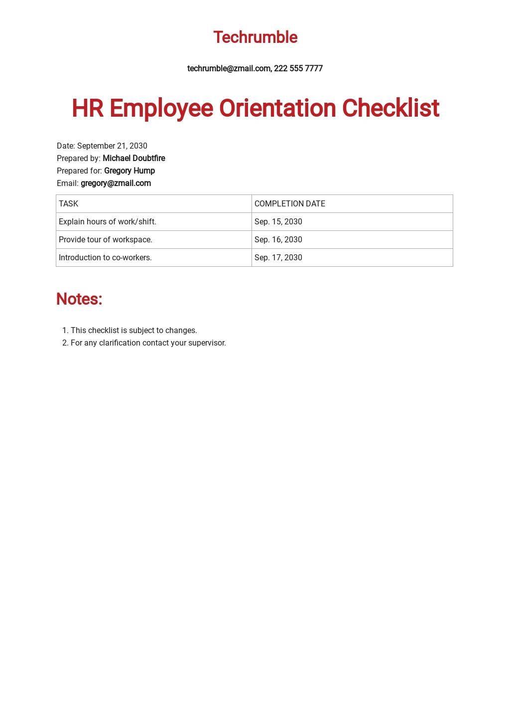HR Employee Orientation Checklist Template