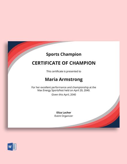 Free Champion Award Certificate