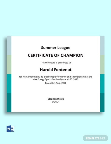 Free Champion Certificate of Winning Competition Template
