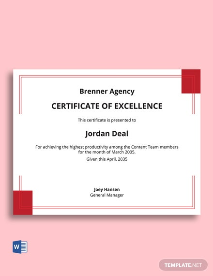 Free Excellence Corporate Certificate template