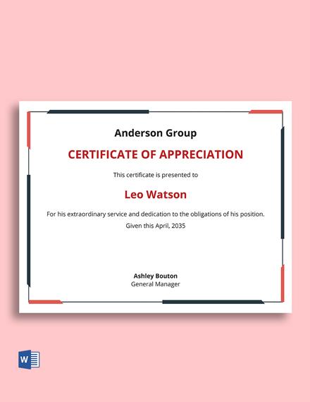 Free Corporate Appreciation Certificate Template