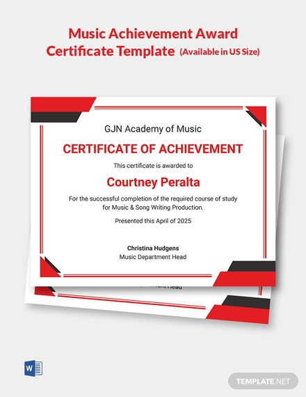 Music Achievement Award Certificate Template