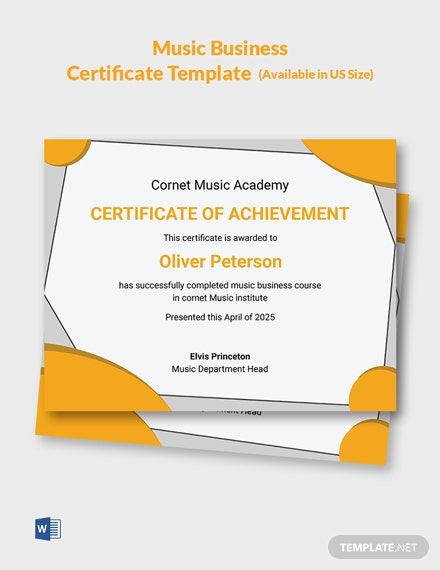 Music Business Certificate Template