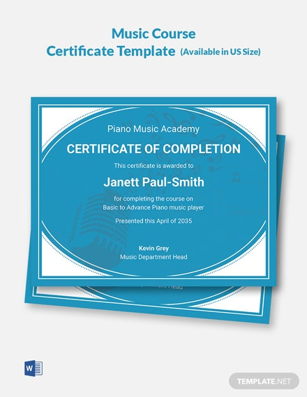 Music Course Certificate Template