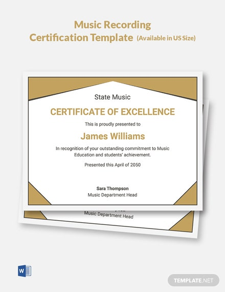 Music Recording Certification Template