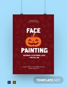 Halloween Face Painting Poster Template