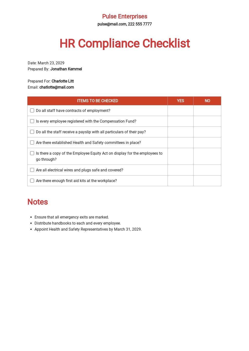 HR Compliance Checklist Template
