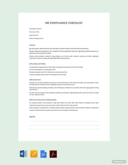 Free HR Compliance Checklist