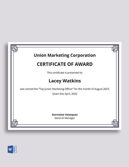 Corporate Award Certificate Template