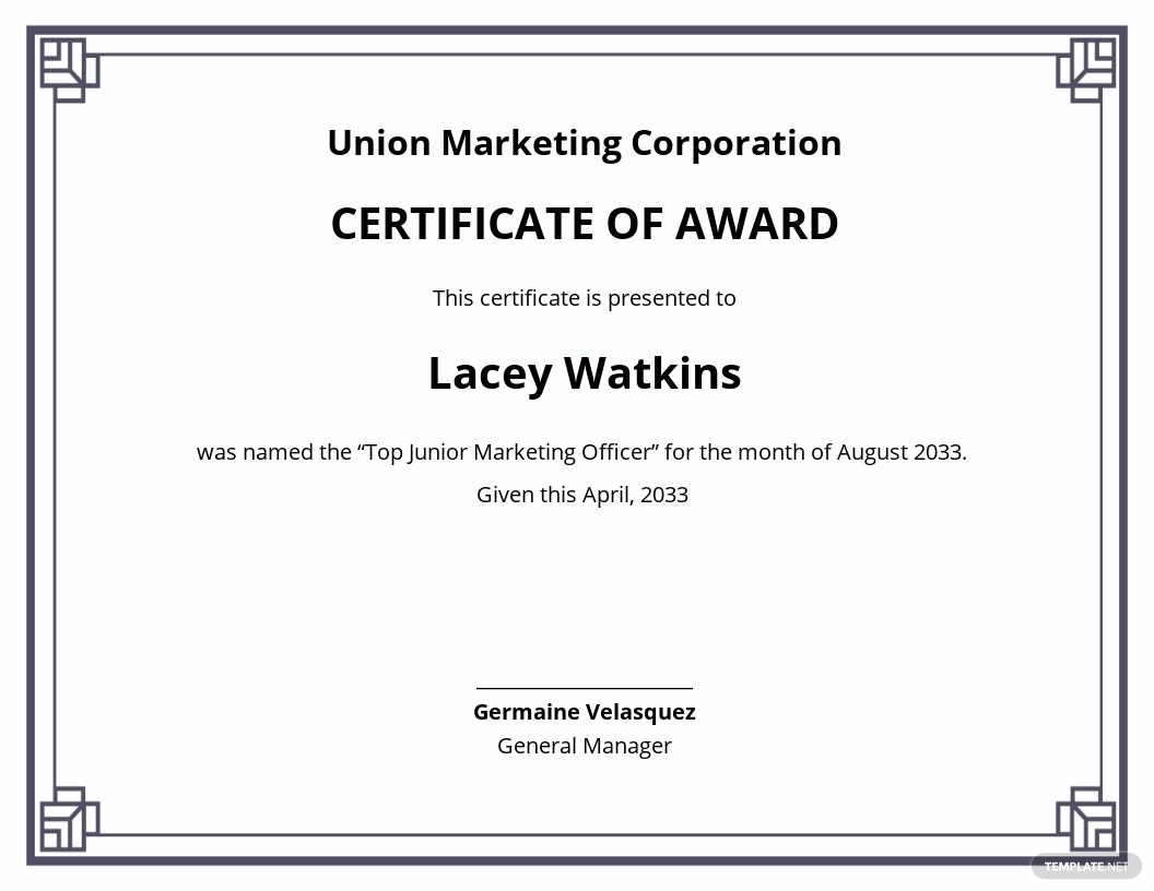 Corporate Award Certificate Template