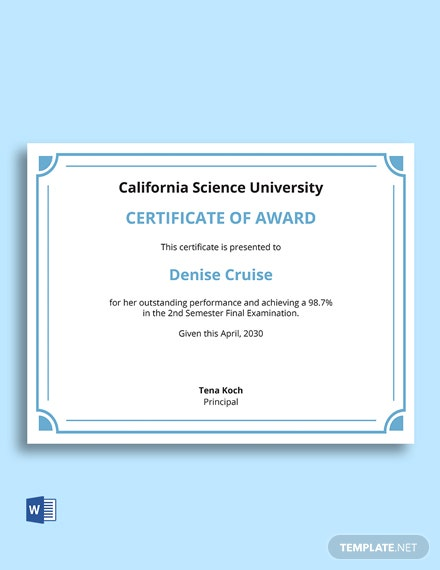 Elegant Diploma Award Certificate Template