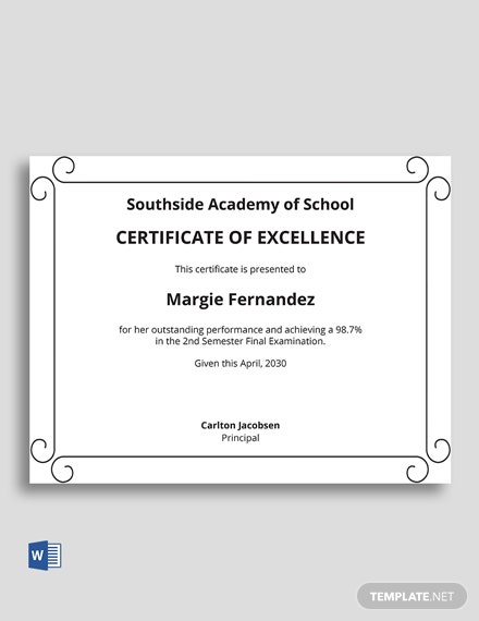 Free School Academic Excellence Certificate Template