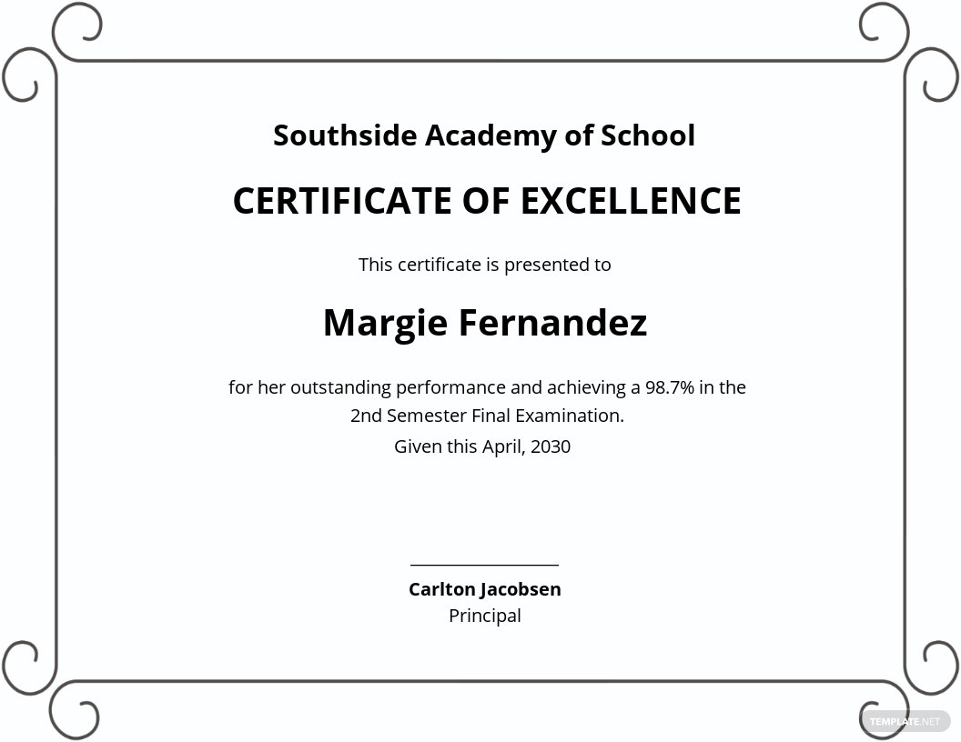 School Academic Excellence Certificate Template