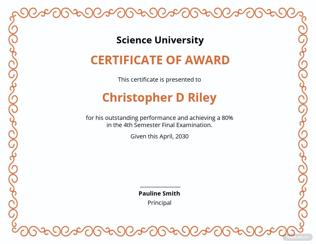 Certificate Of Academic Excellence Award Template
