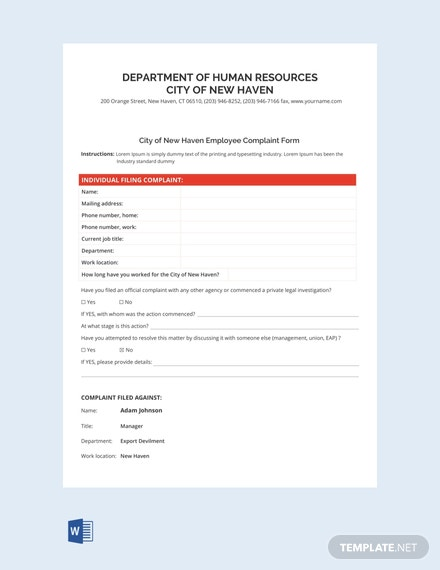 Free Individual Employee HR Complainant Form