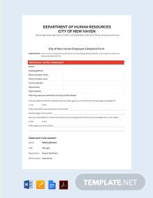 Individual Employee HR Complainant Form Template