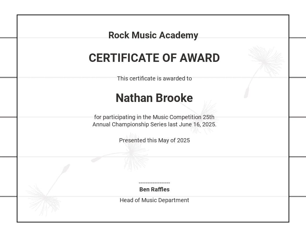 Music Participation Certificate Template