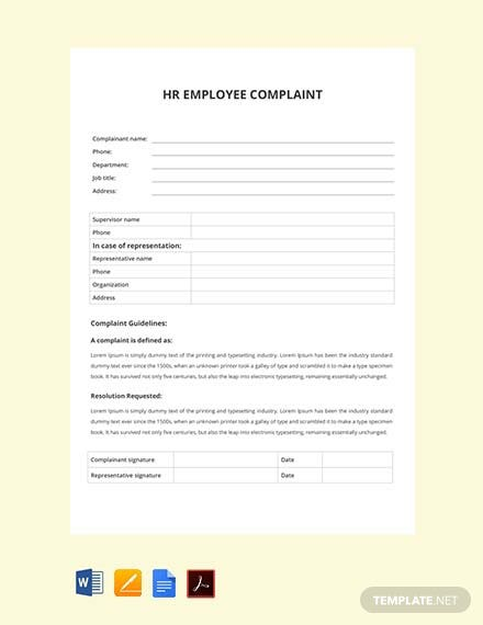 Free HR Employee Complaint Form