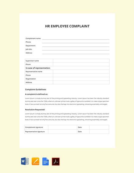 HR Employee Complaint Form Template