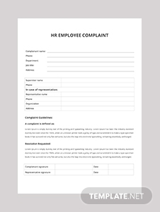 HR Employee Complaint Form