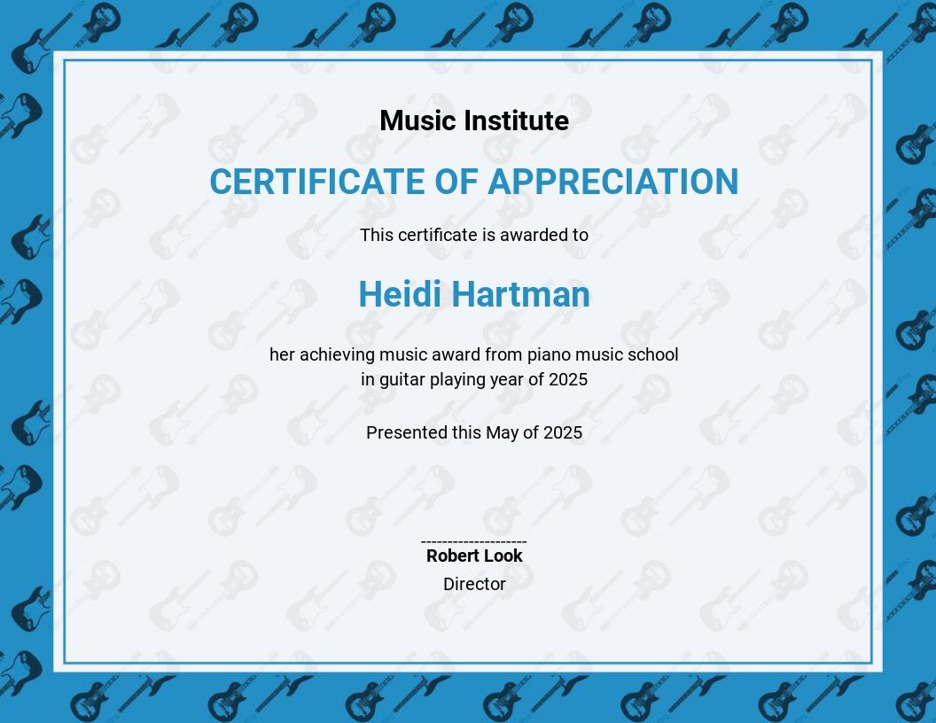 School Music Certificate Template