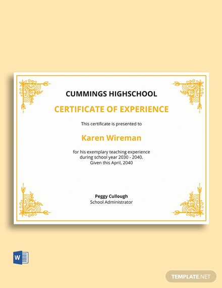 Teaching Experience Certificate Template