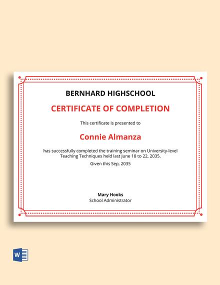 Teaching Training Certificate Sample Template