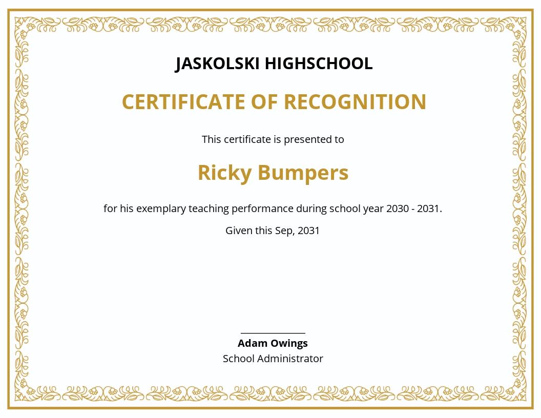School Teaching Certificate Sample Template